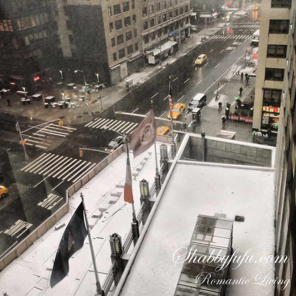 Hotel in New York City rooftop view of snow