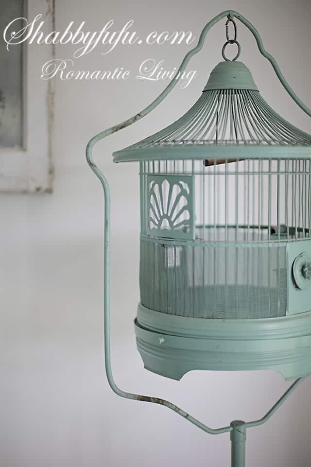 vintage green birdcage shabby chic