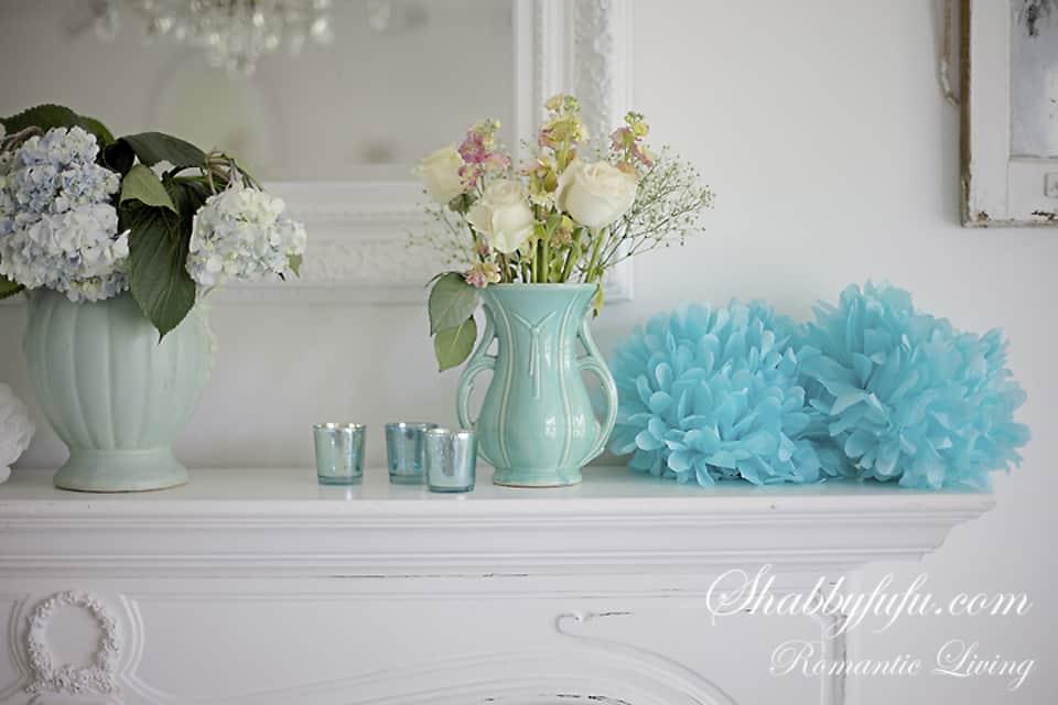 vintage aqua mccoy pottery and pastel mantel decor