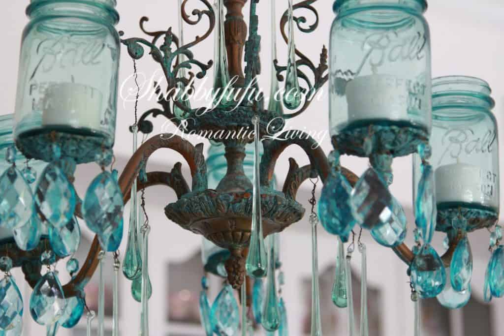 The Original Shabbyfufu Blue Mason Jar Chandelier