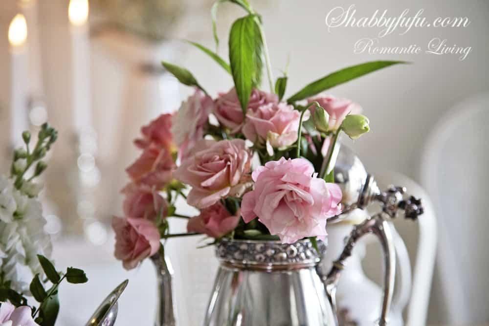 pink lisianthus silver teapot
