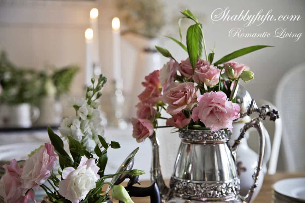 flowers in a teapot centerpiece