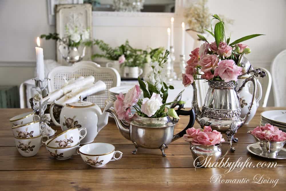 rose teacups and mixed metals