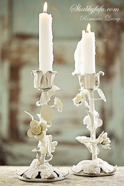 old white Italian tole candles