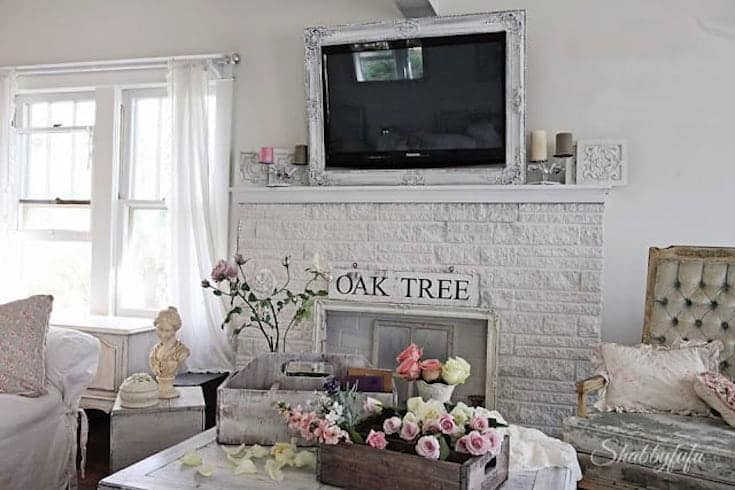 shabby chic tv over a fireplace mantel
