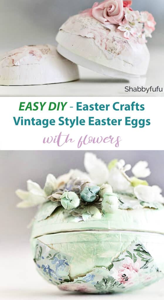 Easter Crafts - Vintage Flowers Easter Eggs