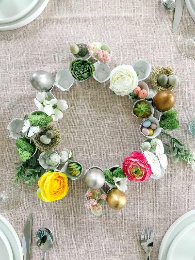 diy gilded egg carton wreath