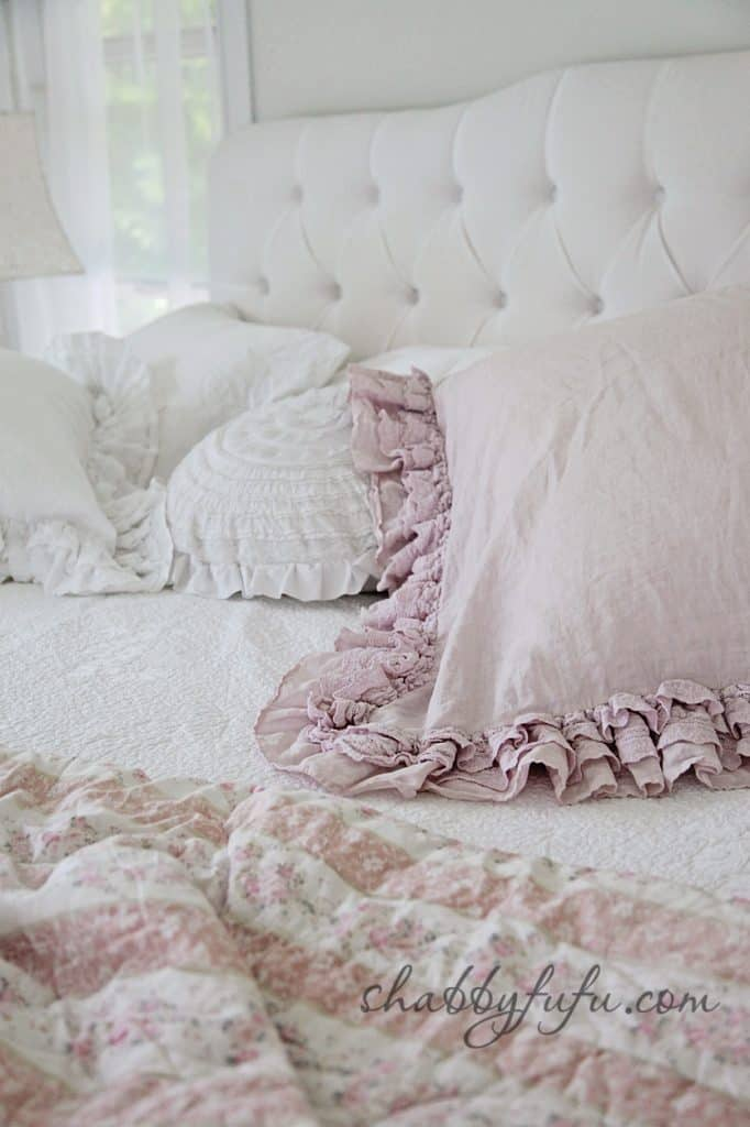 five minute design tips - neutral and soft white bed linens with frills and soft textures