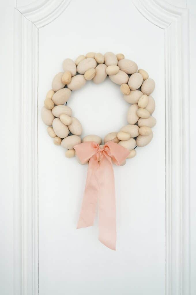 wooden egg wreath diy