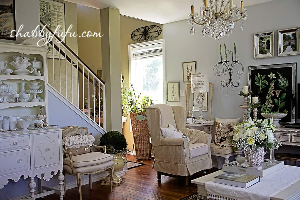 French country decor in Texas - living room and sitting area with vintage pieces