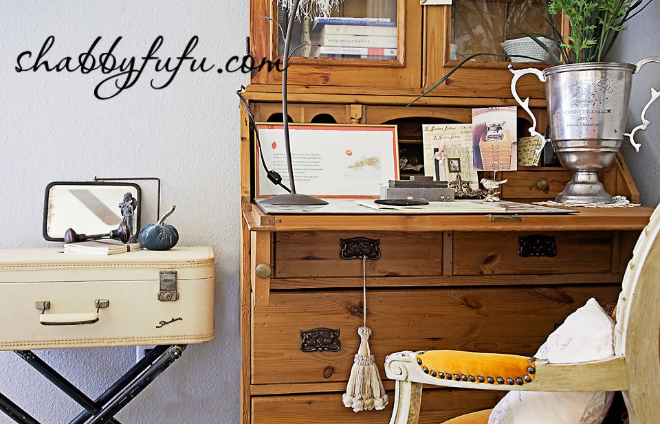 French country decor in Texas - office and desk space in a refurbished dresser