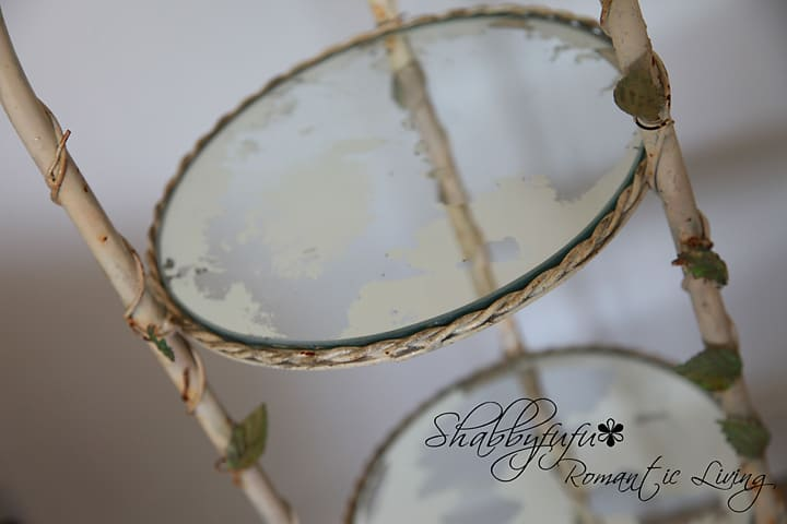 Finished product in this DIY mirror patina tutorial.