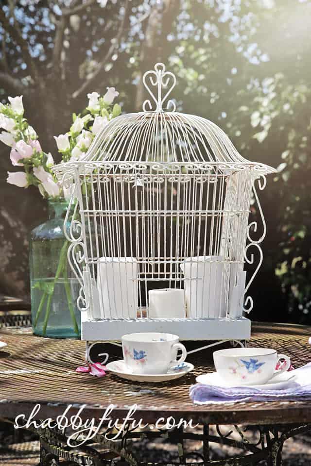 vintage white birdcage