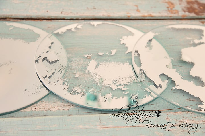 DIY mirror patina tutorial - step by step - removing the varnish and silver from the mirror to make it look old and antique.