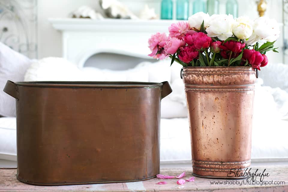 polished copper vase with peony