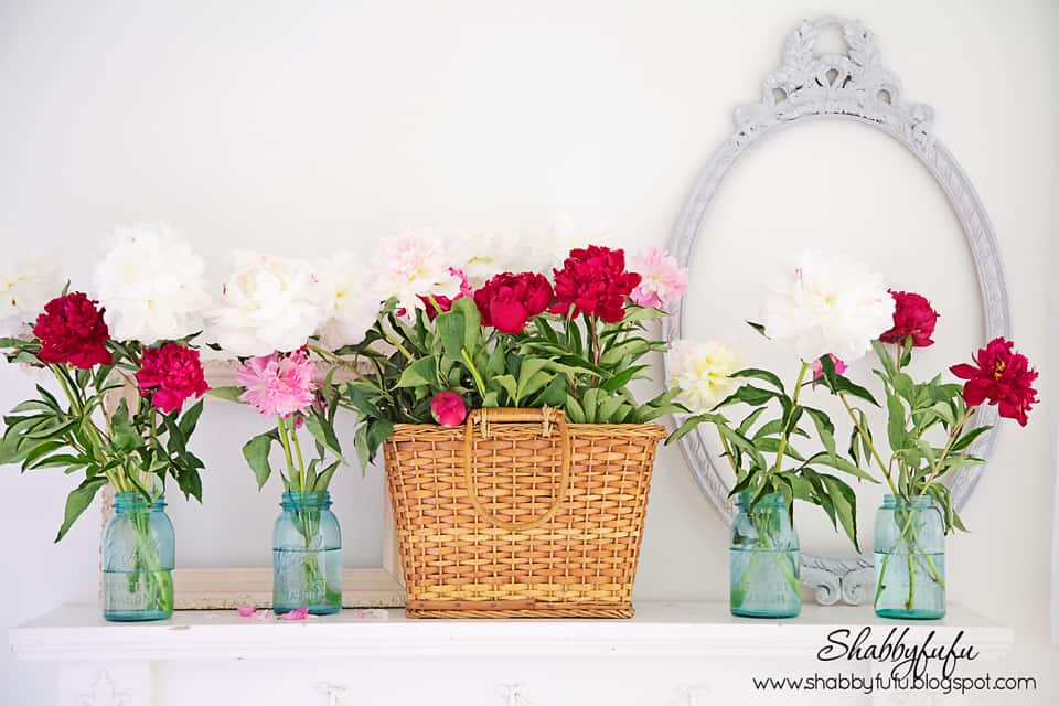 peonies wicker mason jars on a summer mantel