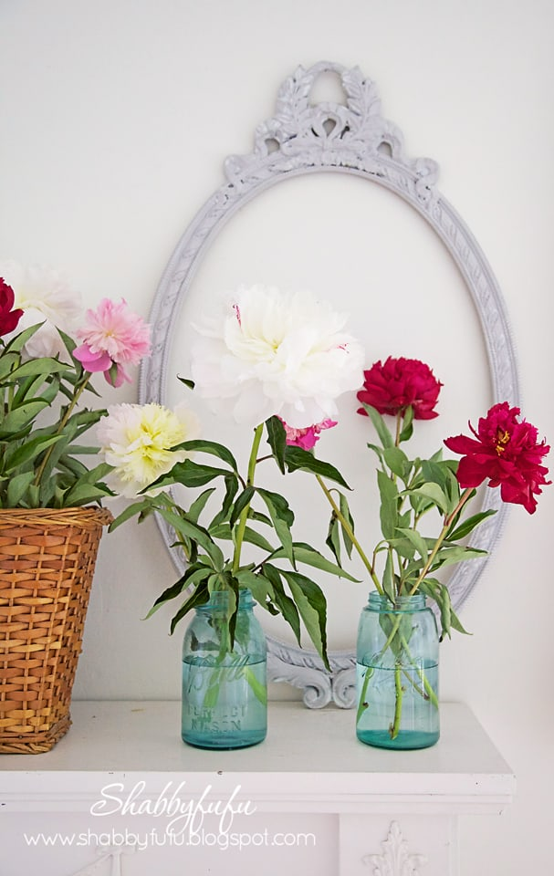 peonies on a mantel