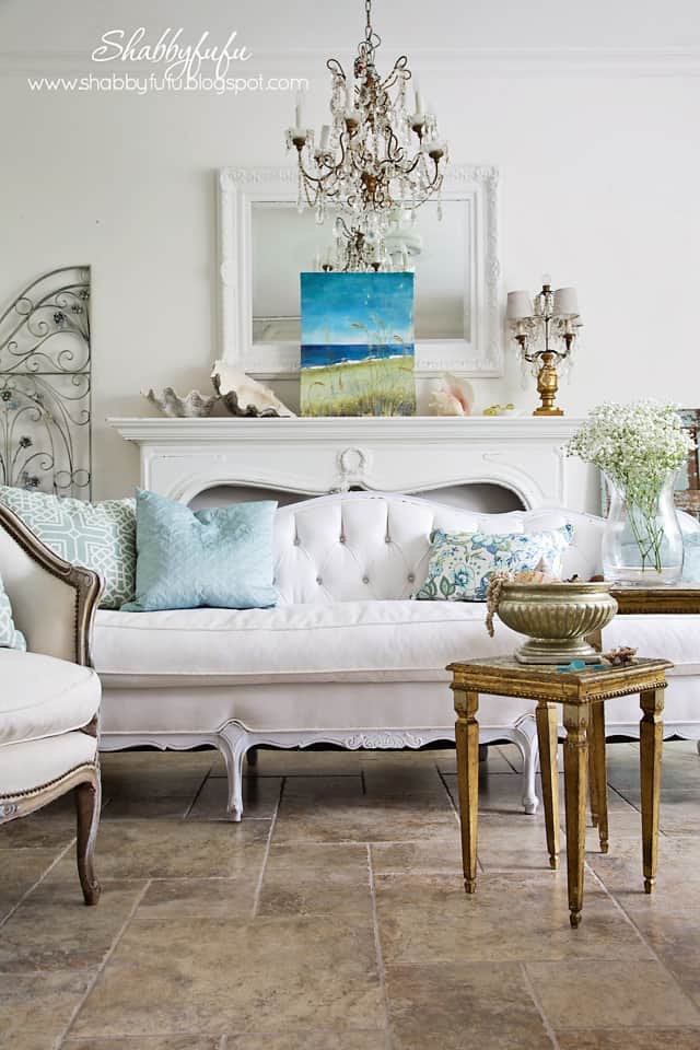 five minute styling tips - living room with coastal artwork and mantel display