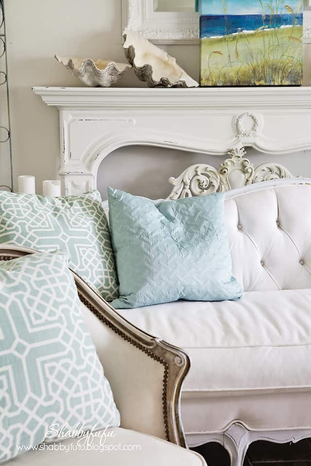 five minute styling tips - light blue throw pillows on a white couch