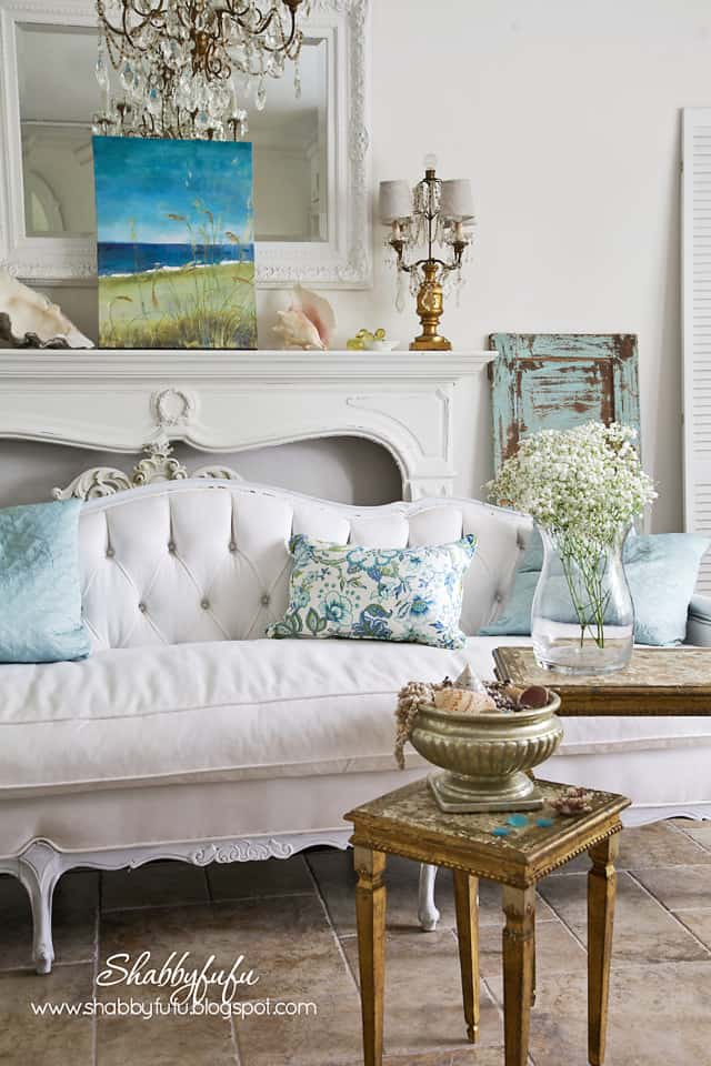 five minute styling tips - coastal blue and green colors accent this white room with gold furniture