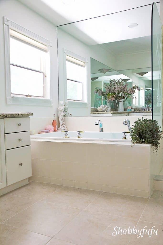 pretty master bathroom tub