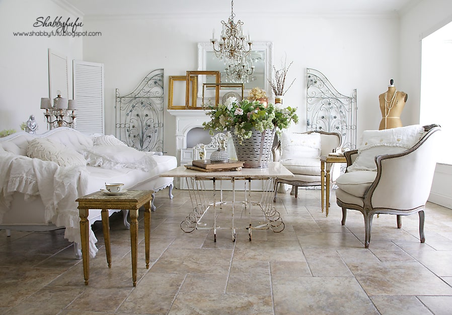 Fall Decorating Inspiration   Fall Visions In A White Living Room With Rich  Gold Accents