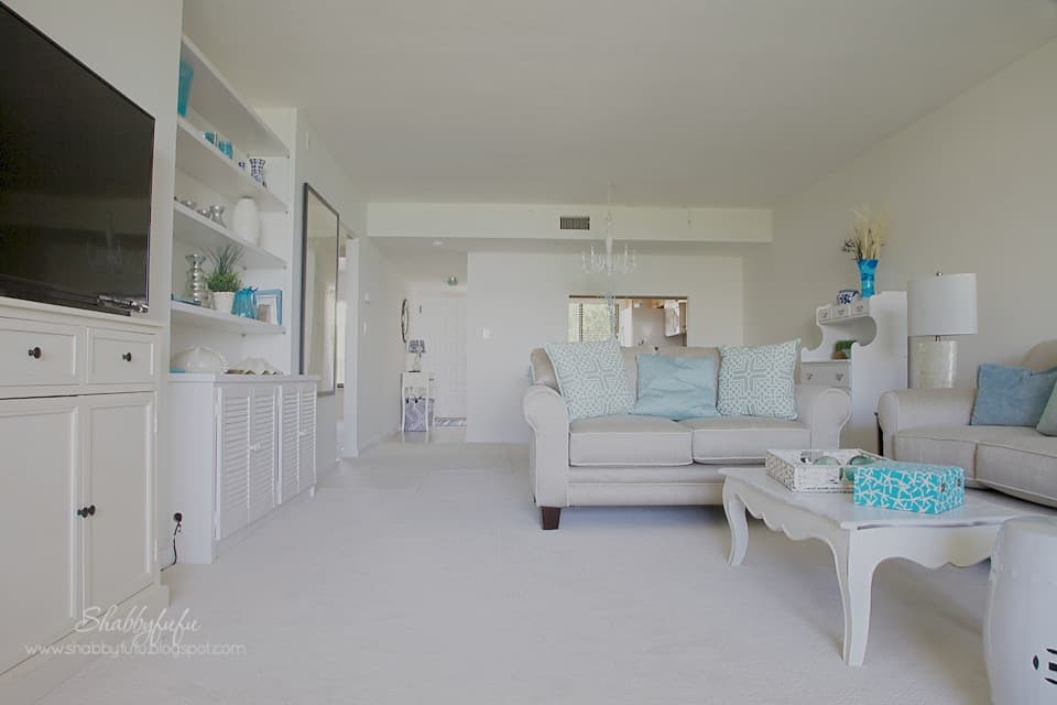 The Sanibel design project is in progress - here is a sneak peek at the living room area after a redesign.