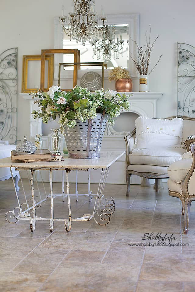 fall decorating inspiration - fall flower arrangement and refurbished furniture