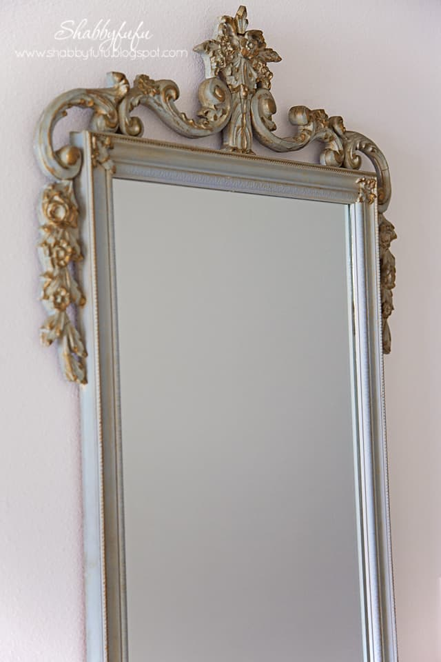 antique french blue dressing mirror