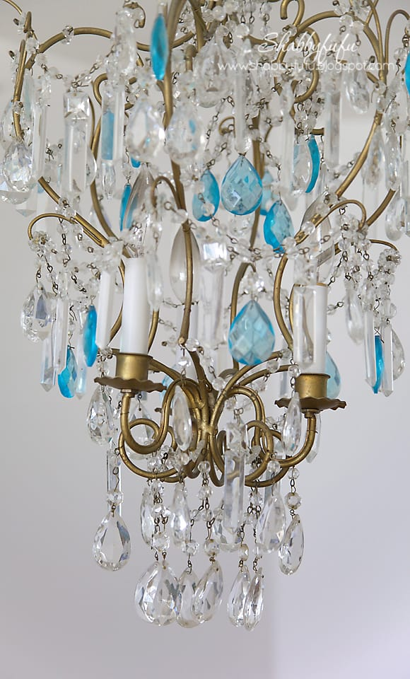 french chandelier blue crystals macaroni beads