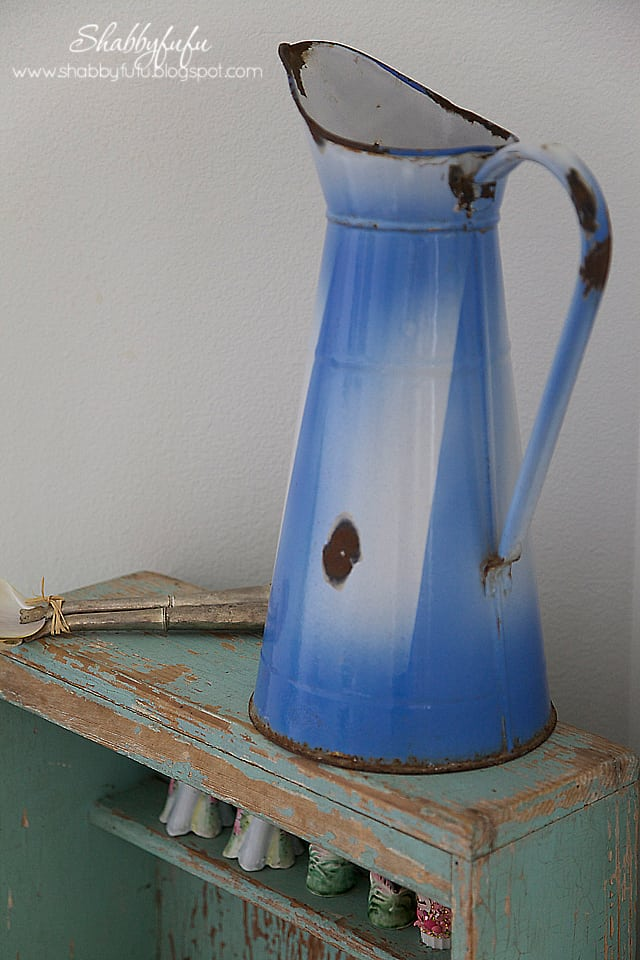 antique french enamelware pitcher