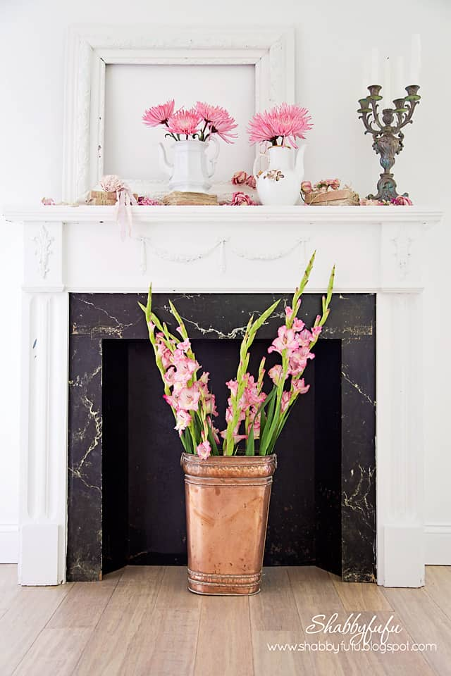 copper and flowers mantel