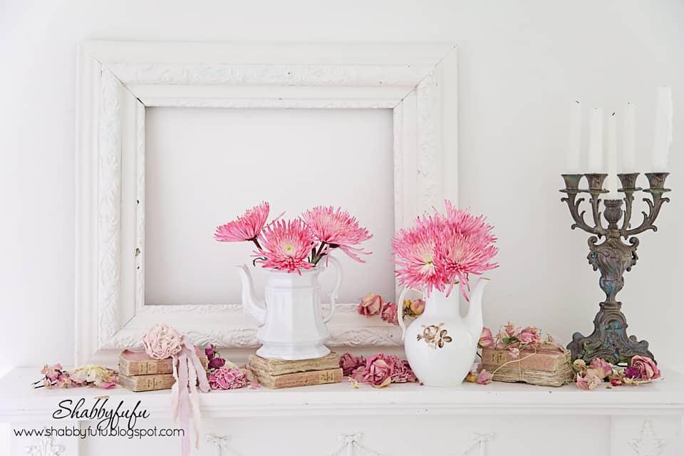 beautiful pink flowers mantel