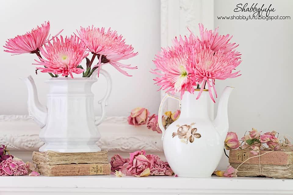 pink dahlias on a mantel