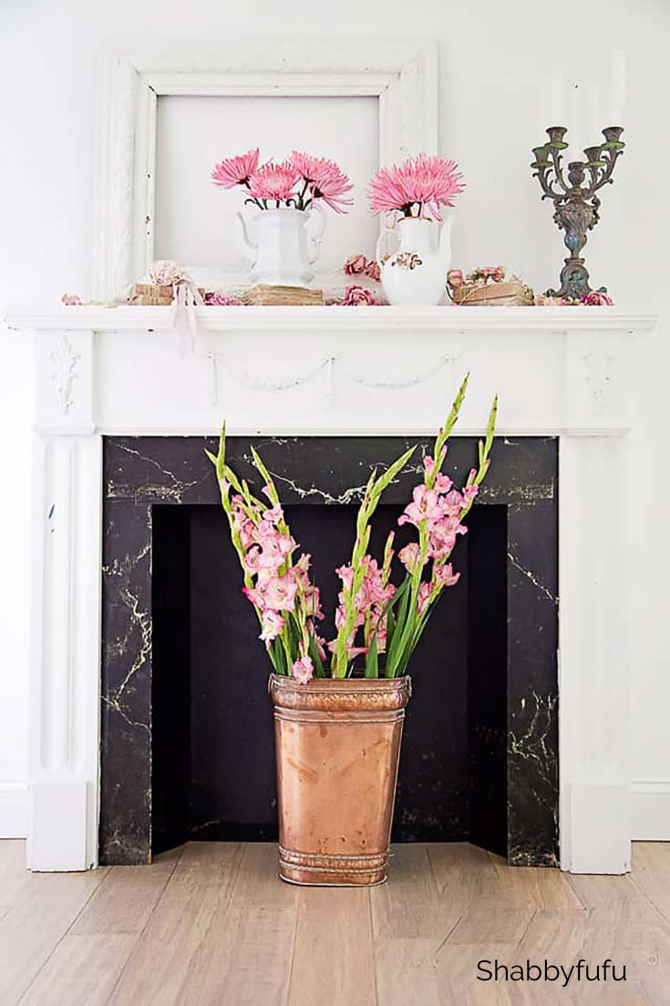fall mantel pink flowers copper