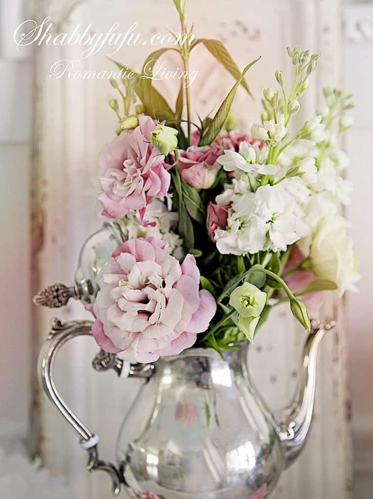 pretty fall decorating ideas silver tea pot