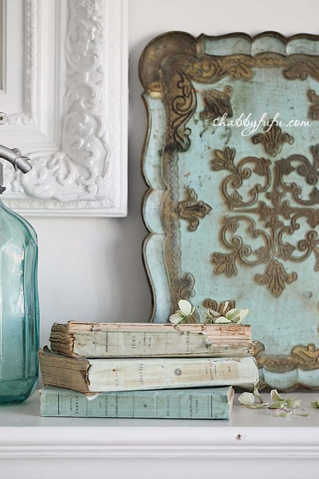 antique aqua french books ruffled pages