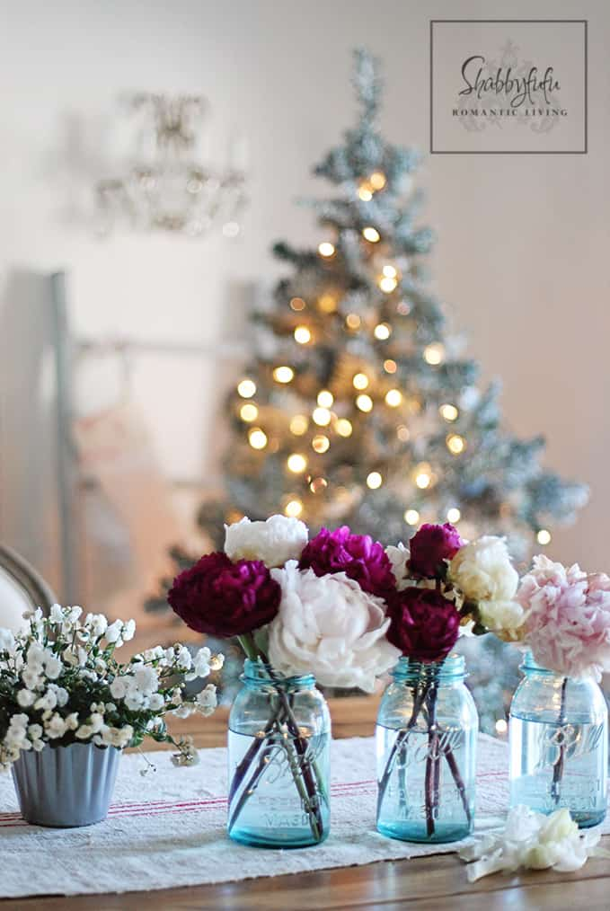 peonies in mason jars for christmas