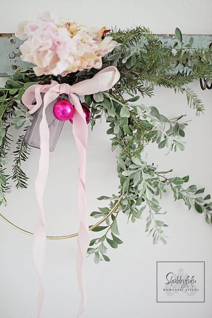 peony wreath for christmas