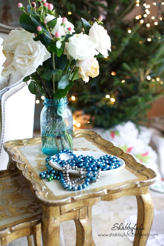 aqua and gold florentine tables