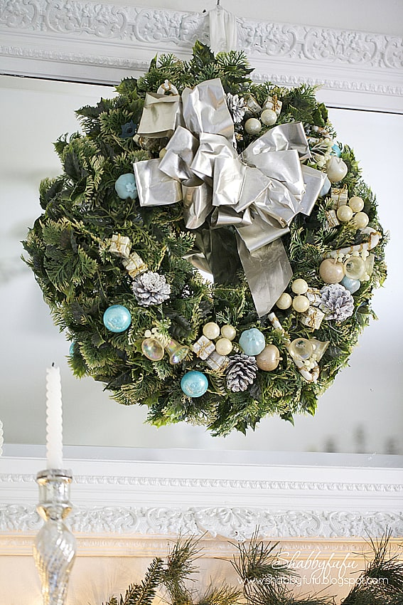 vintage christmas wreath aqua- Vintage French Style Christmas Home