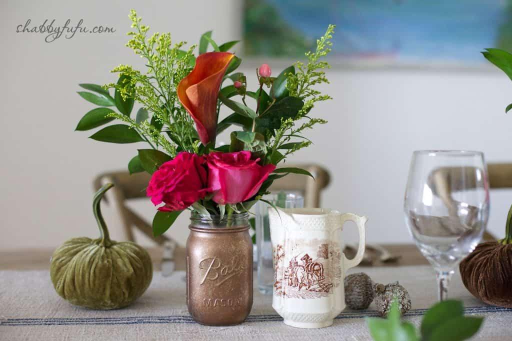 Thanksgiving Beach House decor - fall flower arrangement
