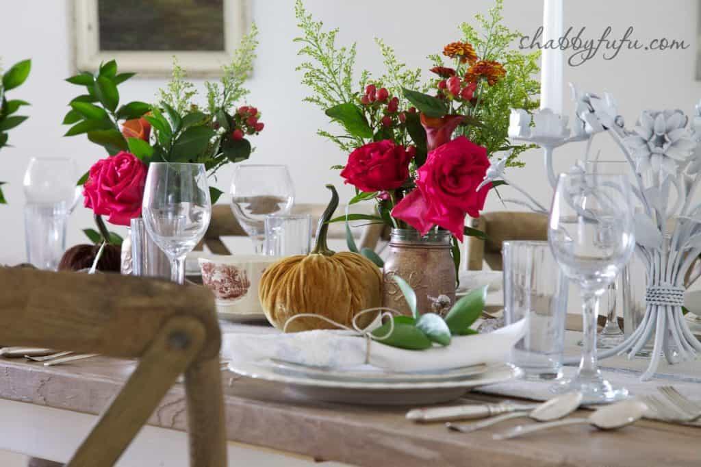 Thanksgiving Beach House decor - fall flower arrangement with velvet pumpkin