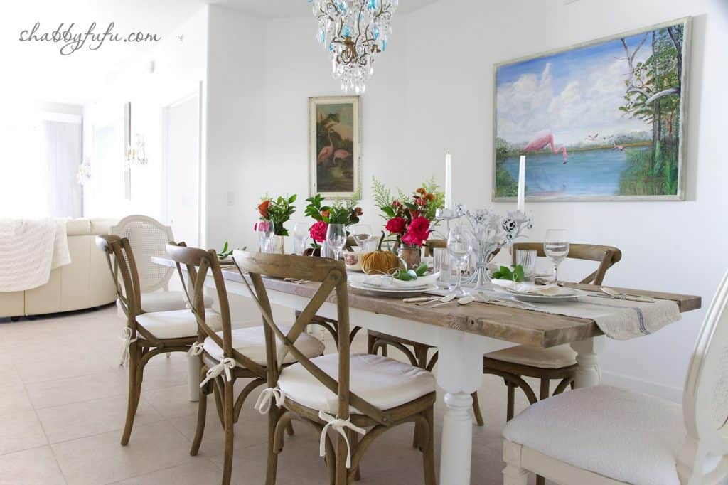 Thanksgiving Beach House decor - tablescape, dining table, and farmhouse table chairs