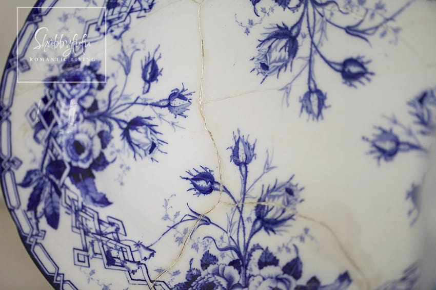 Decorating with toile - close up details of toile pattern on an antique french serving platter