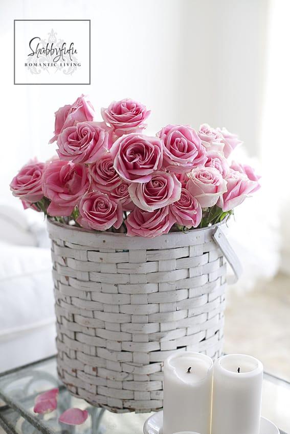 pink roses in a vintage bucket