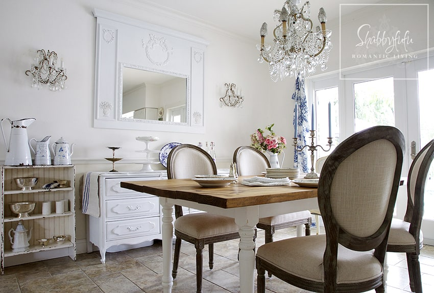 Decorating with toile - touches of toile curtains and toile china in a neutral dining room