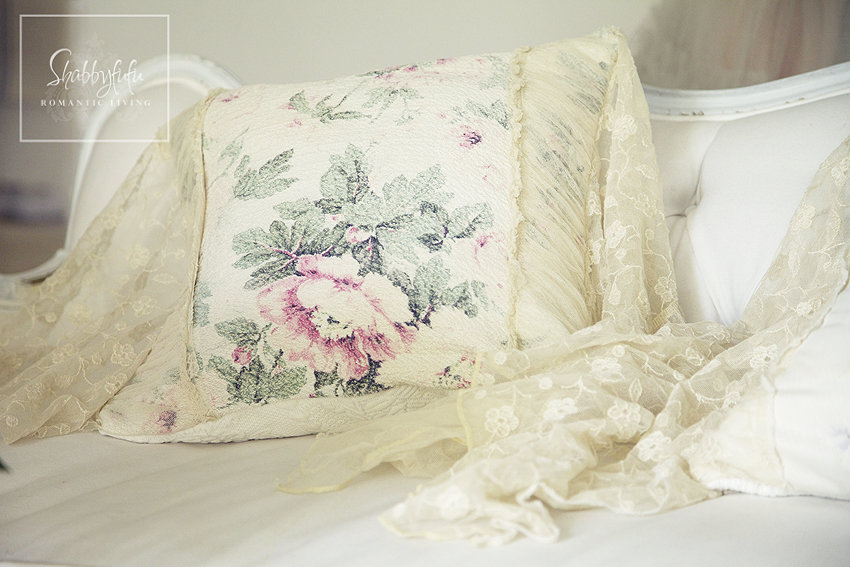 The details on our throw pillows - soft flowers on cream fabric. It's easy to mix and match throw pillows if you keep your styles and textures in mind.