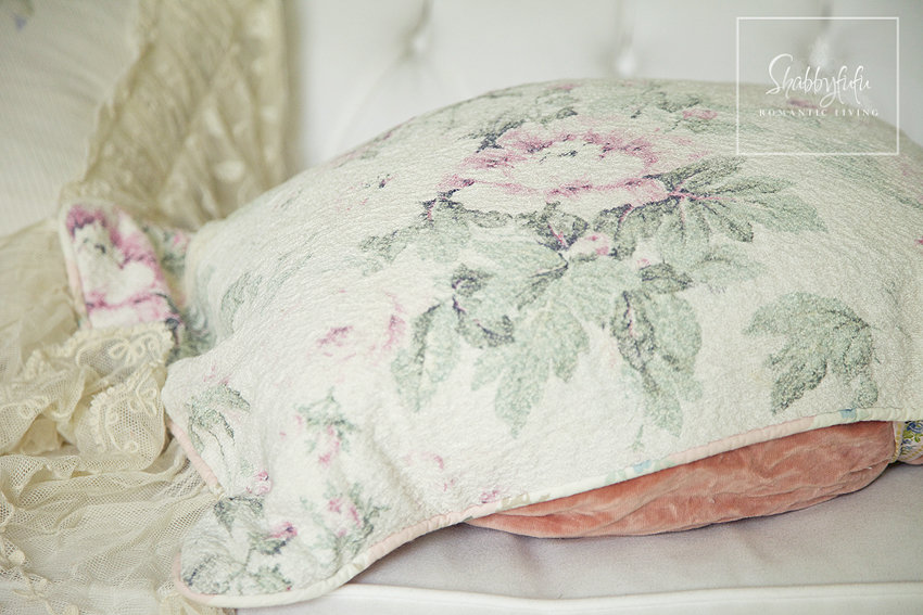 The close-up details on our throw pillows - soft flowers on cream fabric. It's easy to mix and match throw pillows if you keep your styles and textures in mind.