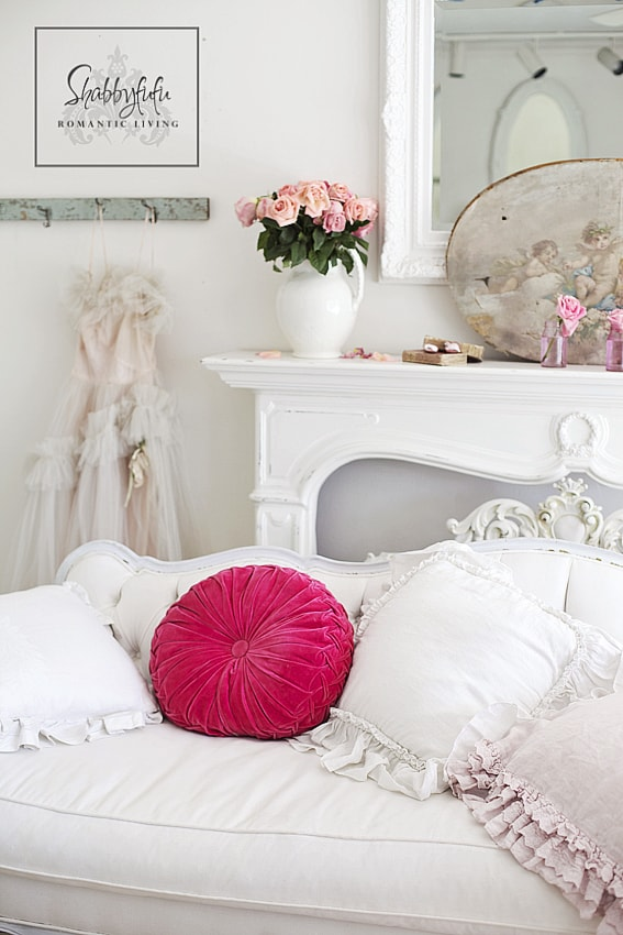 white and pink living room valentines day